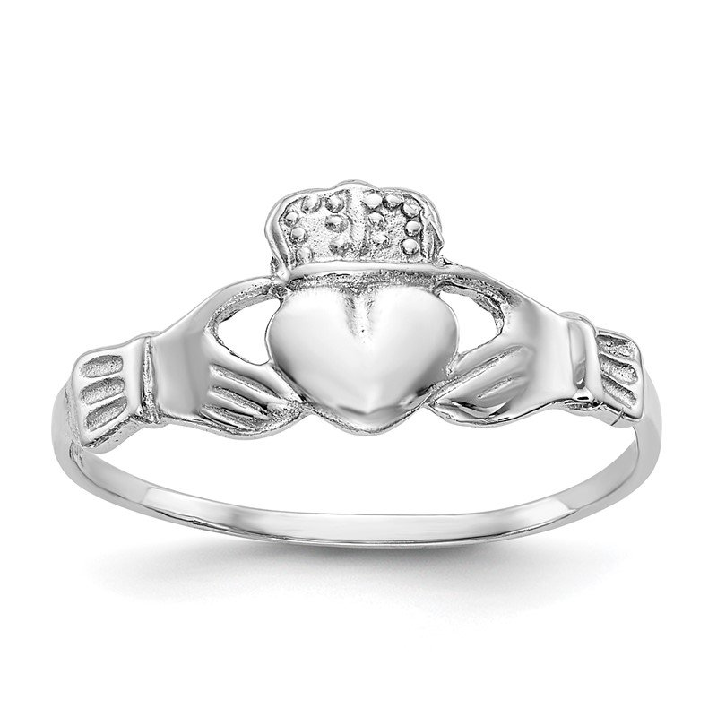 Quality Gold 14k White Gold Polished Claddagh Ring