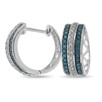 10K WG Three Rows Diamond Hoop Earrring in Prong Setting . Center Row in Blue and Outside Rows in White Diamonds