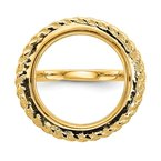 Quality Gold 14ky Polished Rope 16.5mm Prong Coin Bezel Ring