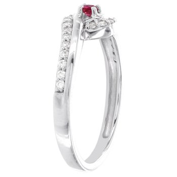 10k White Gold Ruby and 1/5ct TDW Diamond Promise Ring