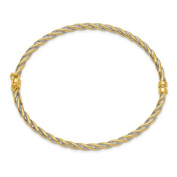 14k Two-Tone Polished Hinged Bangle Bracelet