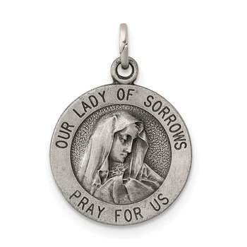 Sterling Silver Antiqued Our Lady of Sorrows Medal