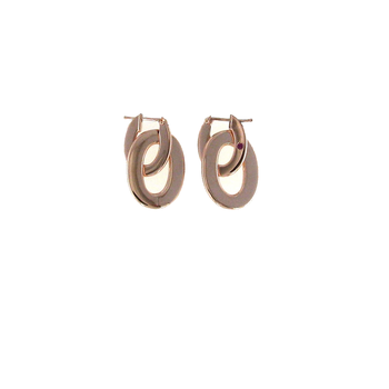18Kt Rose Gold Satin Drop Earrings