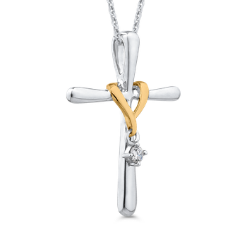 10K White & Yellow Gold .05 Ct Diamond Cross Pendant with Chain