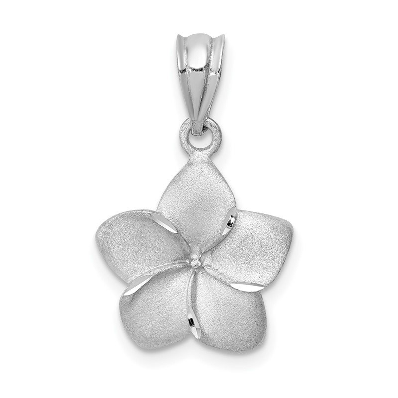 Quality Gold 14K White Brushed and Diamond-cut Plumeria Pendant