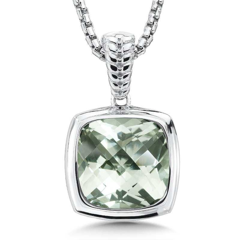 Colore Sg Sterling Silver Green Amethyst Essentials Pendant