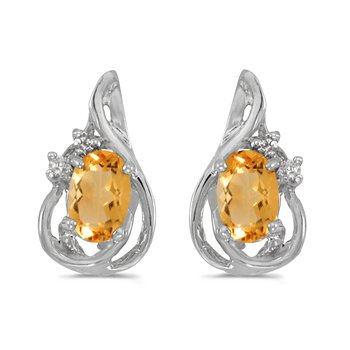14k White Gold Oval Citrine And Diamond Teardrop Earrings