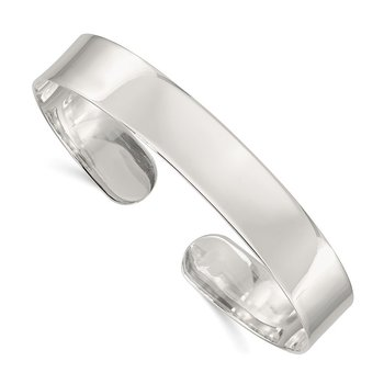 Sterling Silver 10.25mm Fancy Cuff Bangle Bracelet