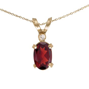 14k Yellow Gold Oval Garnet And Diamond Filagree Pendant