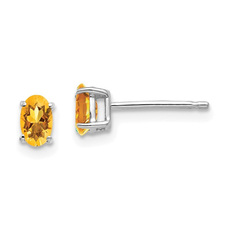 Quality Gold 14k White Gold 5x3mm Oval Citrine Earrings