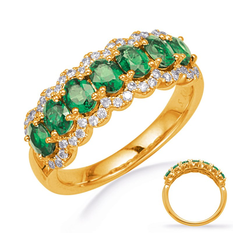 S. Kashi  & Sons Yellow Gold Tsavorite & Diamond Ring