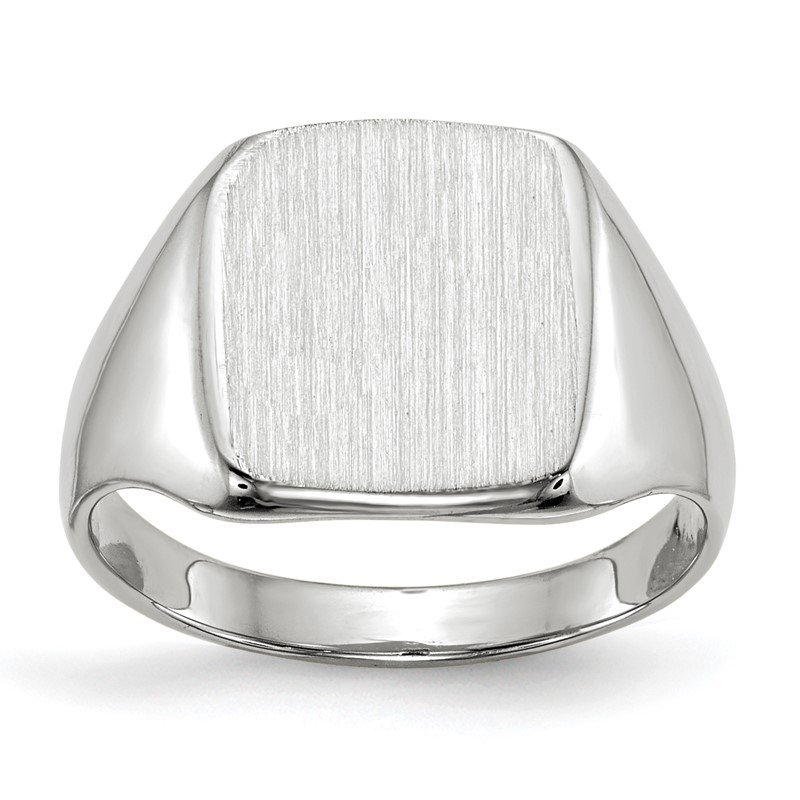Quality Gold 14k White Gold 11.0x10.5mm Closed Back Signet Ring