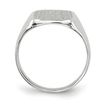 14k White Gold 11.0x10.5mm Closed Back Signet Ring