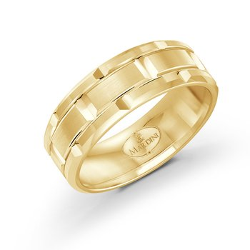 8mm two-toneall yellow gold brick motif band