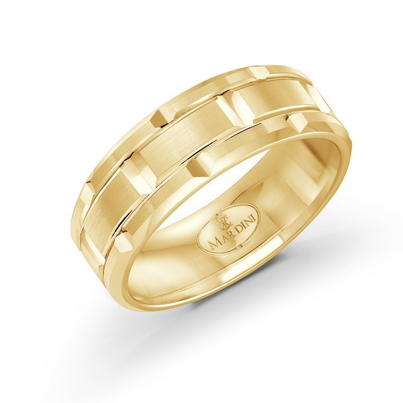 Mardini 8mm two-toneall yellow gold brick motif band