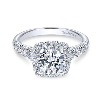 14k White Gold Graduating Pave and Round Diamond Halo Engagement Ring
