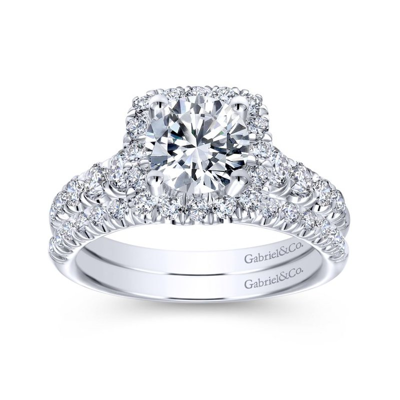 Gabriel Bridal 14K White Gold Cushion Halo Round Diamond Engagement Ring