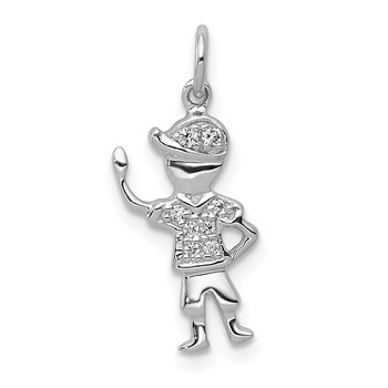 14k White Gold Diamond Boy Charm
