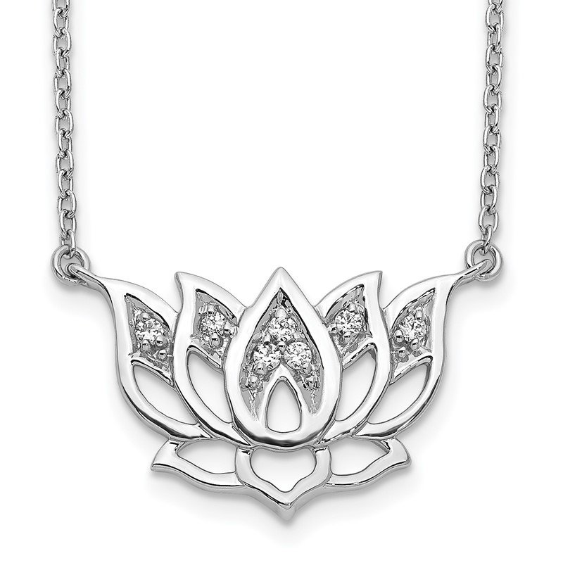 Quality Gold 14k White Gold Diamond Lotus Flower 18 inch Necklace