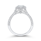 Carizza 14K White Gold Pear Diamond Halo Engagement Ring (Semi-Mount)