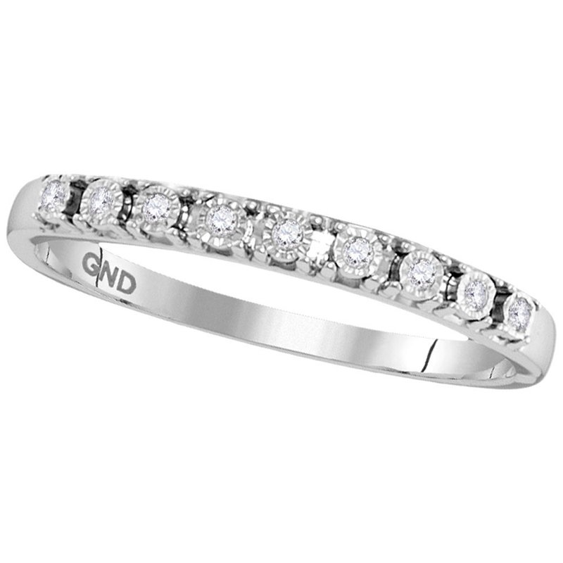 Gold-N-Diamonds, Inc. (Atlanta) 10kt White Gold Womens Round Diamond Illusion-set Band 1/20 Cttw