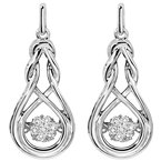 Gems One Sterling Silver Rhythm of Love Prong Diamond Earrings 1/7CT