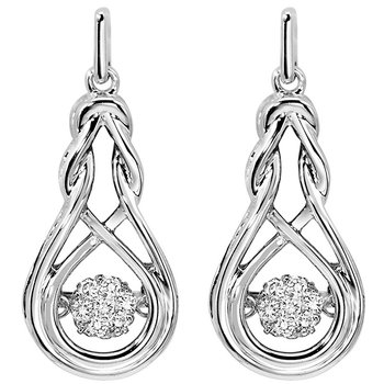 Sterling Silver Rhythm of Love Prong Diamond Earrings 1/7CT