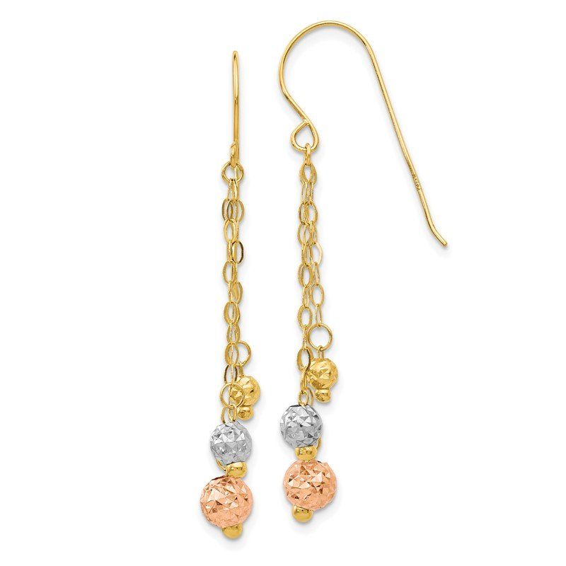 Quality Gold 14K Tri-color w/Diamond-cut Beads Dangle Earrings