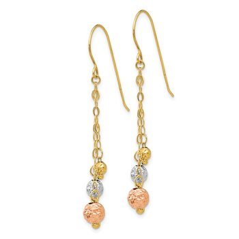 14K Tri-color w/Diamond-cut Beads Dangle Earrings
