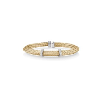 Yellow Cable Tiered Stackable Bracelet with Double Diamond Station set in 18kt White Gold