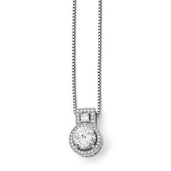 Sterling Silver Brilliant Embers Rhodium-plated CZ Necklace