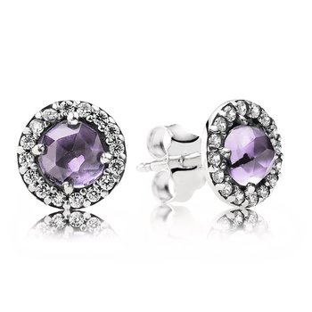 Glamorous Legacy Stud Earrings, Amethyst & CZ