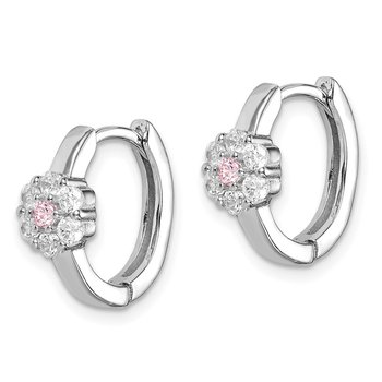 Sterling Silver Rhodium-plated Pink/White CZ Flower Hoop Earrings
