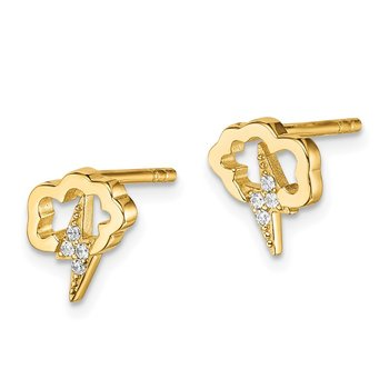 Sterling Silver Gold-tone CZ Storm Cloud Post Earrings
