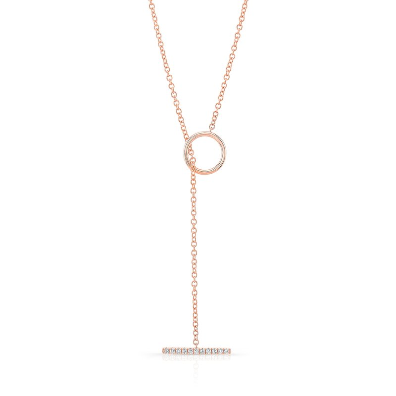 Robert Palma Designs Rose Gold Diamond T Bar Toggle Necklace