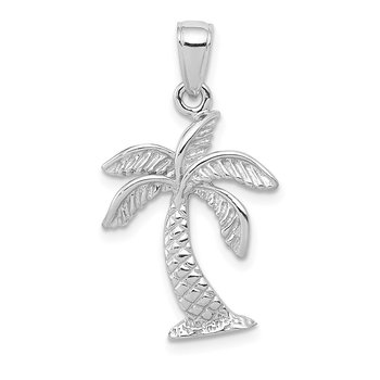14K White Gold Palm Tree Pendant