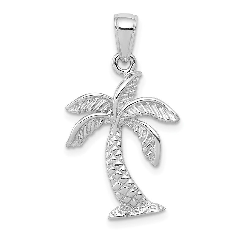 Quality Gold 14K White Gold Palm Tree Pendant