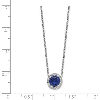 Cheryl M 18.25in SS Rhodium-plated Created Blue Spinel & CZ Halo Necklace