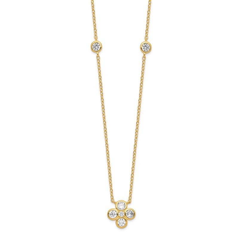 Quality Gold Sterling Silver Gold-plated Polished CZ w/ 2in ext. Necklace