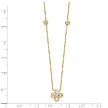 Sterling Silver Gold-plated Polished CZ w/ 2in ext. Necklace
