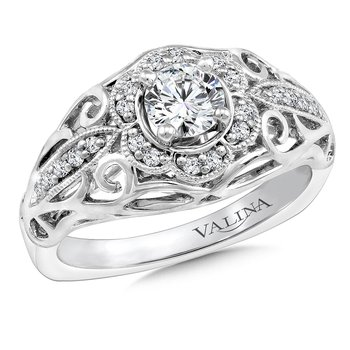 Diamond Engagement Ring Mounting in 14K White Gold (.14 ct. tw.)