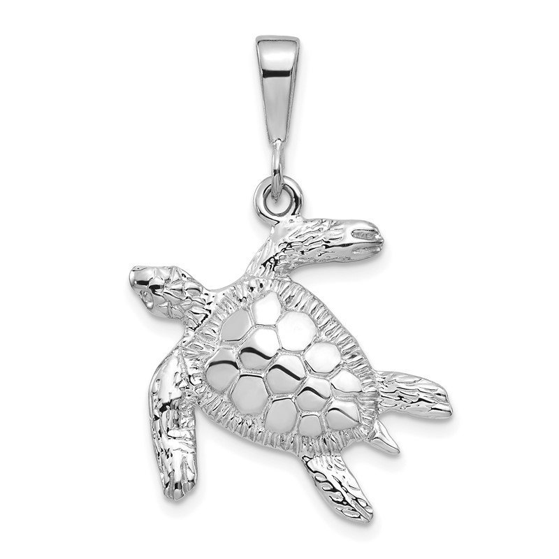 Fine Jewelry by JBD 14k White Gold Solid Polished Open-Backed Sea Turtle Pendant