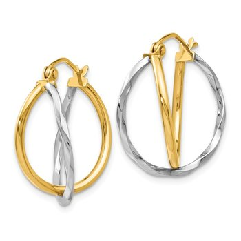 Leslie's 14K Two-tone Polished Hinged Earrings