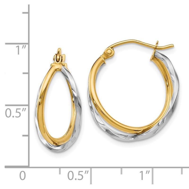 Leslies Real 14kt Two-tone Polished Hinged Hoop Earrings