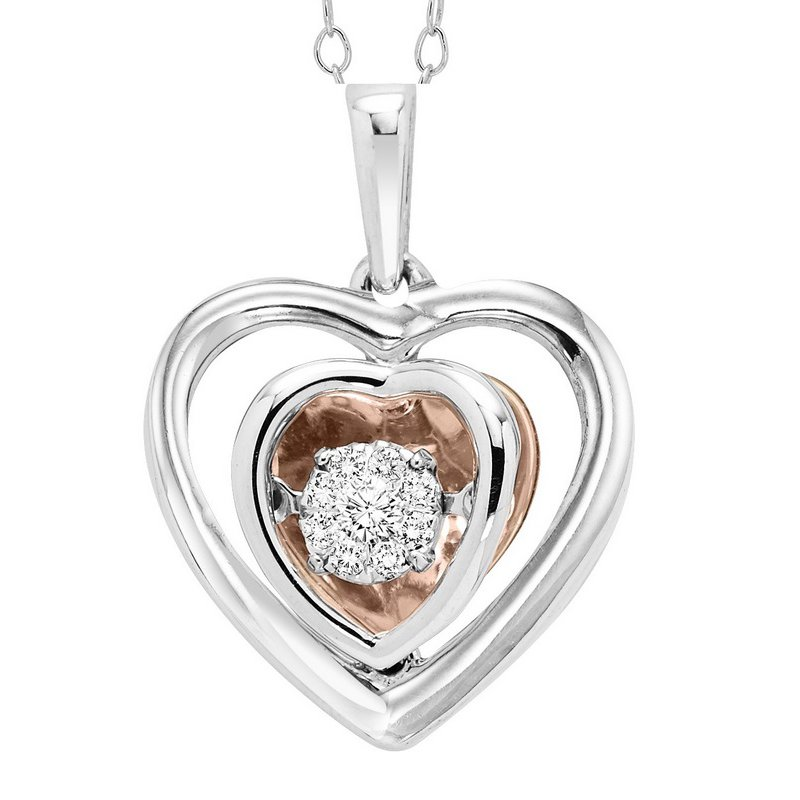 Rhythm of Love 10K & Silver Diamond Pendant 1/7 ctw