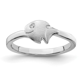 Sterling Silver Rhodium-plated Childs Satin CZ Fish Ring
