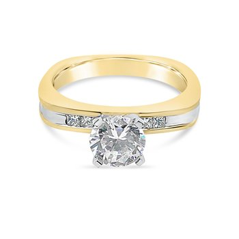 14K Two Tone Gold Diamond Retro Engagement Ring