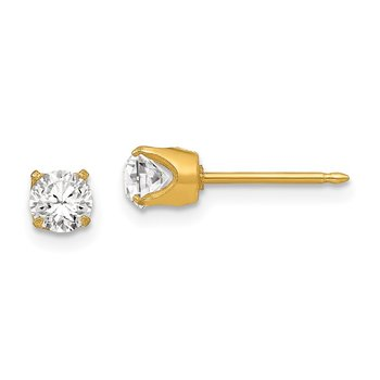 Inverness 24k Plated 5mm Austrian Crystal Earrings