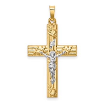 14k Two-tone Hollow Polished Textured & Striped Latin Crucifix