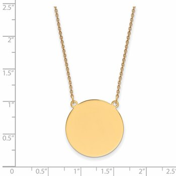 14k Plain .013 Gauge Circular Engravable Disc 18in Necklace